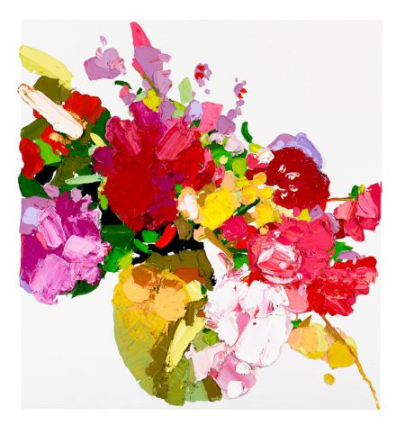 Painting of very colourful flowers.