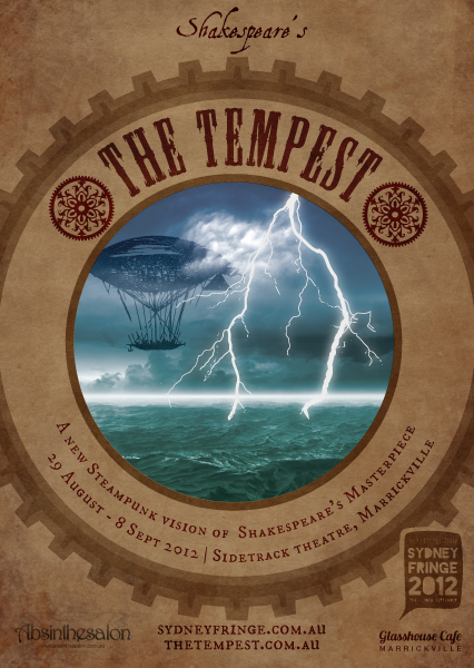 Flyer for The Tempest showing airship in lightning storm.