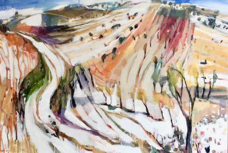 On the right track by Debbie Mackinnon. Acrylic on canvas.