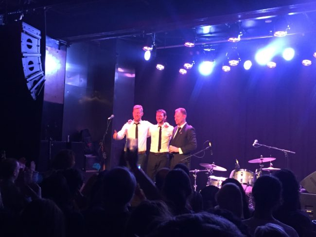 The 3 members of the Basics take a bow after their show at the Espy