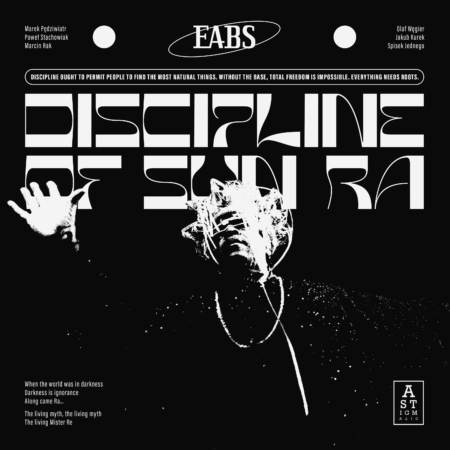 album art for EABS album Discipline of the Sun Ra. Black and white psychedelic illustrations of a man with his eyes crossed out