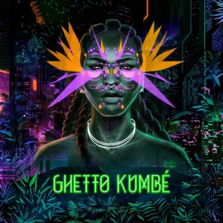 Album art for Ghetto Lumbe's album Ghetto Kumbe, a bright and colourful afrofuturism illustration