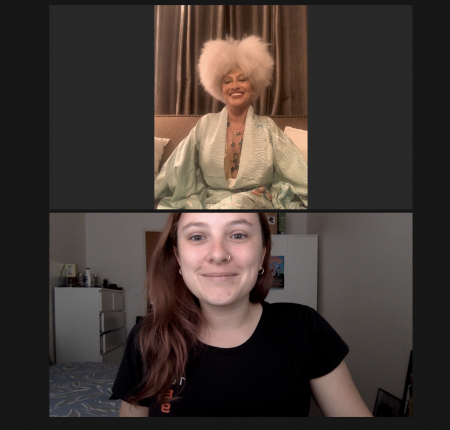 Image of 2 women - Artist Lady Blackbird at the top, with blonde afro hair and wearing emerald green. Bottom is Chelsea Deeley, red hair, black t-shirt.