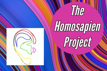 Swirl multicolour graphic with text: The Homosapien Project